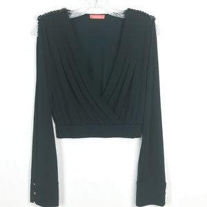 Tops - Soft long open sleeve blouse, plunging neckline.